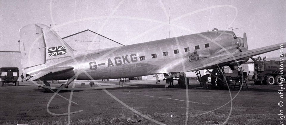 BOAC Douglas DC-3 G-AGKG at Asmara in Eritrea in 1947.  Taken by Peter Keating on an early flight.